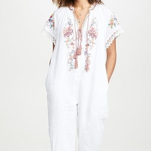 NWT Farm Rio Embroidered Linen Floral jumpsuit